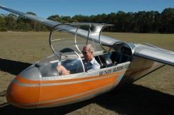 Lance getting ready for a solo flight in the Blanik