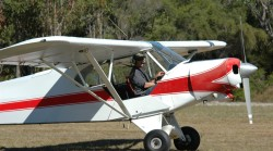 Nigel landing in the Super Cub after doing a tow